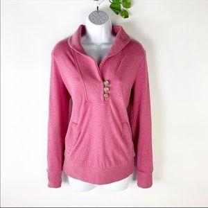Banana Republic Pink Pullover Sweatshirt Button Up